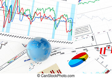 Crystal Global on Financial Chart Business concept