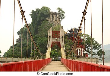 Scenic bridge and China temple - Rural landscape with a...