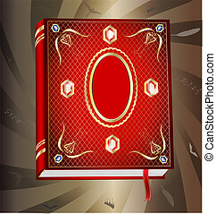red book - on an abstract background of a big red book,...