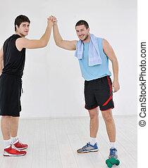 Adultos, joven, ejercicio, condición física