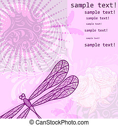 vector background with dragonfly and flowers