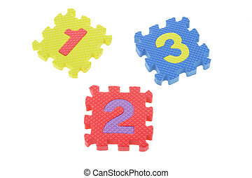 1 2 3 - Colorful puzzle blocks with numbers one, two, and...