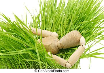 A wooden mannequin on green grass lies
