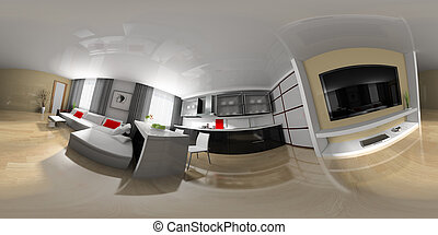 Drawing room spherical panorama - modern interior drawing...