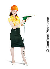 girl in hard hat with drill.