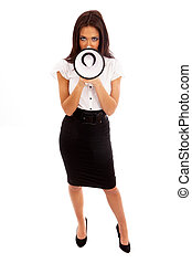 Business Woman in black skirt and white blouse talking...