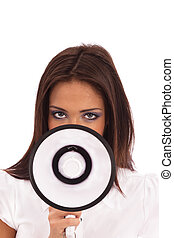 Business Woman Megaphone - Business Woman in white blouse...