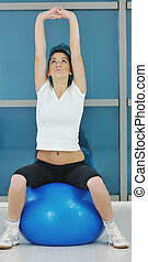 young woman fitness workout - beaudiful young woman fitness...