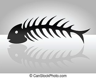 Fish bone2 - The fish bone of black colour A vector...