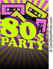Retro Party Background - Audio Casette Tape on Strips and...