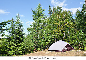 Tent at Campsite in the Wilderness on a Sunny Summer Day