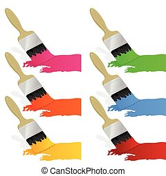 Paint and brush2 - Set of brushes and paints. A vector...
