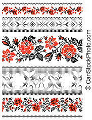 Ukrainian embroidery towel - Vector illustrations of...
