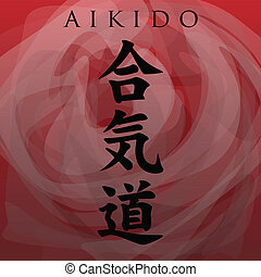 Aikido symbol illustration on a red background.