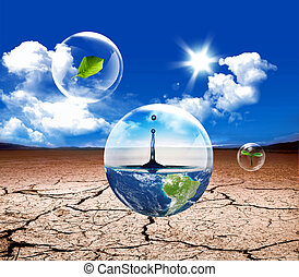 wather life - New life green grass in the water bubble in...
