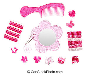 Childish pink hairstyle accessories collection isolated on white