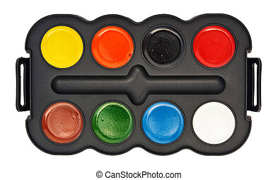 Paint box with water colors isolated on white