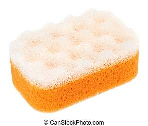 Orange oval bath sponge isolated on white