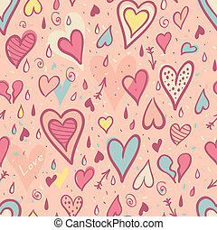Valentine seamless pattern with hearts, Vector Illustration