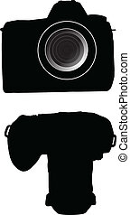 silhouettes of dslr photo cammera vector