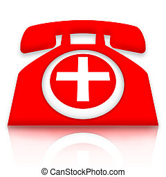 Doctor on call - Red medical first aid telephone with white...