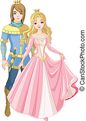 Beautiful prince and princess with golden crown