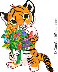 Cute tiger cub with flowers - Cute little tiger cub holding...