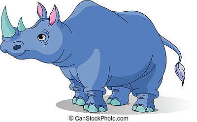 Cartoon rhino - Cartoon funny rhino isolated on white
