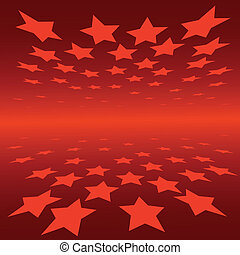 abstract background red stars with perspective effect
