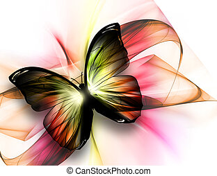 beautiful butterfly - elegant beautiful butterfly on a light...