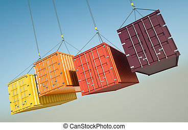 Shipping Containers - Four shipping containers during...