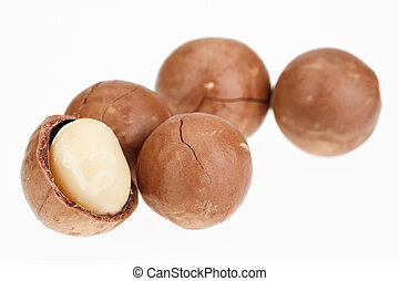 Shelled and unshelled macadamia nuts isolated on white -...
