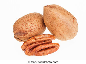 Few pecan nuts isolated on white, one cracked - Few pecan...