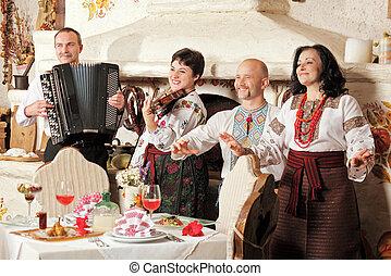 Ukrainian ethnic music band concert in traditional...