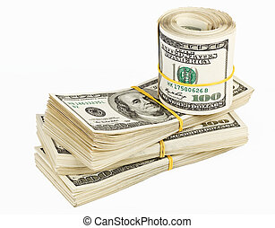 Many bundle and roll of US 100 dollars bank notes isolated...