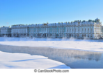 St Petersburg Winter Palace and Neva river in cold sunny...