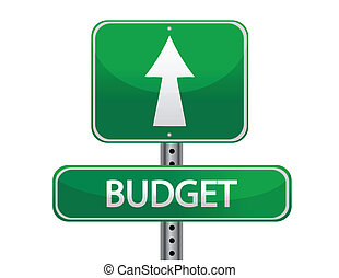 Budget street sign illustration isolated over white