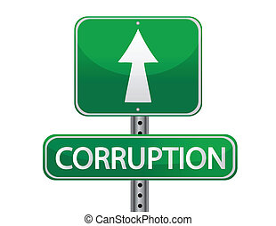 corruption sign isolated over white