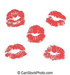 vector lipstick marks illustration - vector red lipstick...