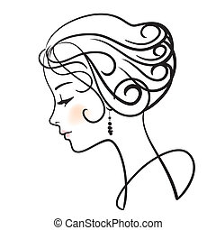 bonito, mulher, rosto, vetorial, Ilustração