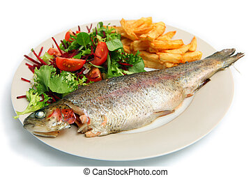 Grilled rainbow trout meal