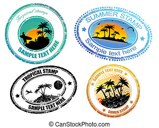 Tropical summer stamps - Set of grunge tropical summer...