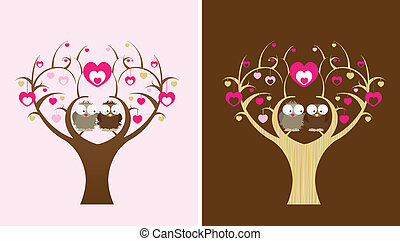 owls in a love tree - 2 owls sit in a love tree, 2 colour...