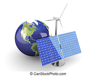 Alternative Energy - USA - 3D rendered Illustration Isolated...