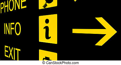 airport info sign in black and yellow