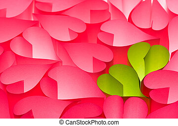 Hot pink and green Valentine's day greeting card with bright...