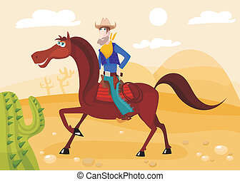 cowboy - vector illustration of a cute cowboy