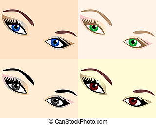 vector set of eye images of different colors