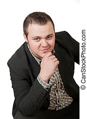 Young handsome businessman. Isolated over white background
