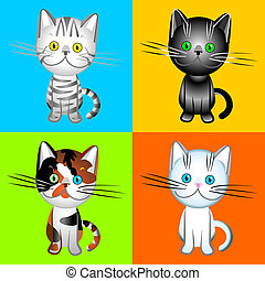 vector the British cats of various colors - the British cats...